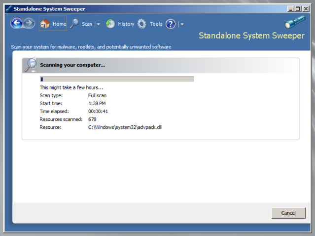 Microsoft Standalone System Sweeper - утилита для удаления malware