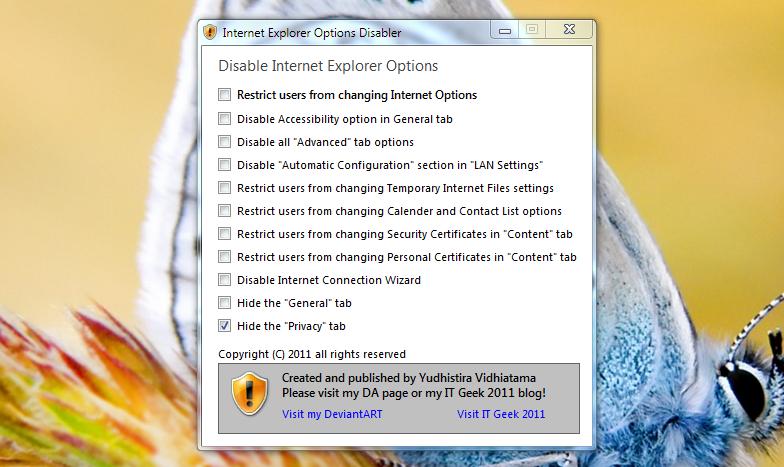 IE Options Disabler - контроль настроек Internet Explorer 9