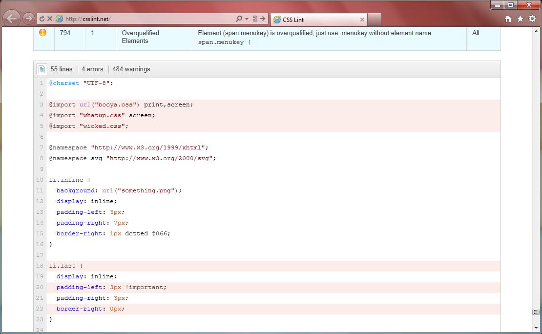 CSS Lint - веб-приложение для проверки файлов CSS