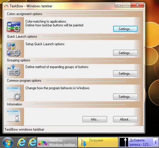 TaskBow изменяет вид и цвет значков на панели задач