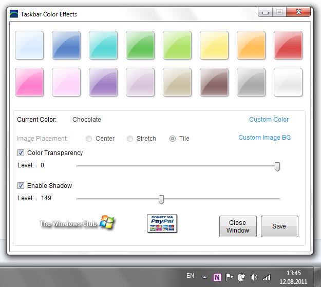 Taskbar Color Effects - утилита для настройки индивидуального цвета панели задач