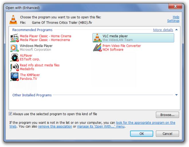 OpenWith Enhanced - замена стандартного диалога выбора программ для открытия файлов (3)