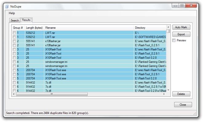 NoDupe - утилита для удаления дубликатов файлов