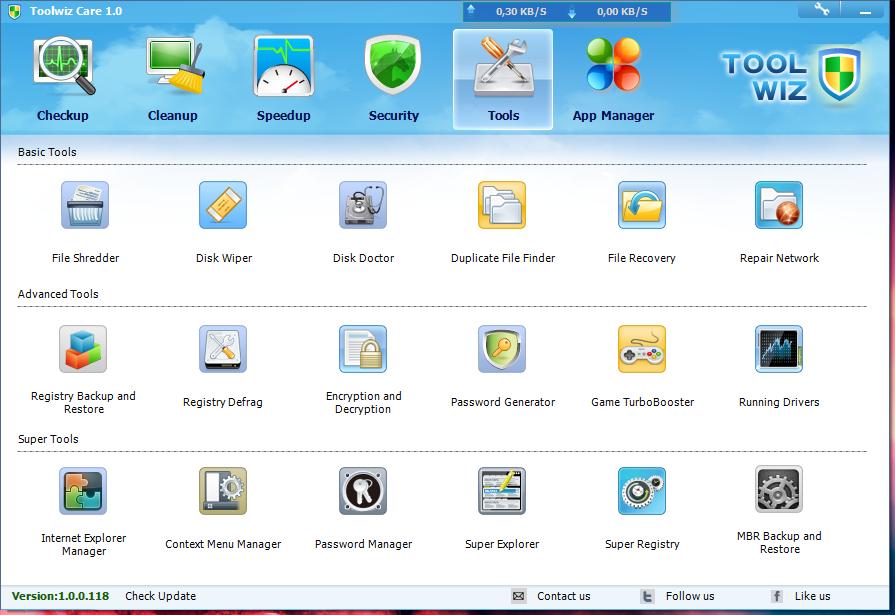 Toolwiz Care - красивый и функциональный твикер системы, включающий целый пакет утилит для обслуживания системы