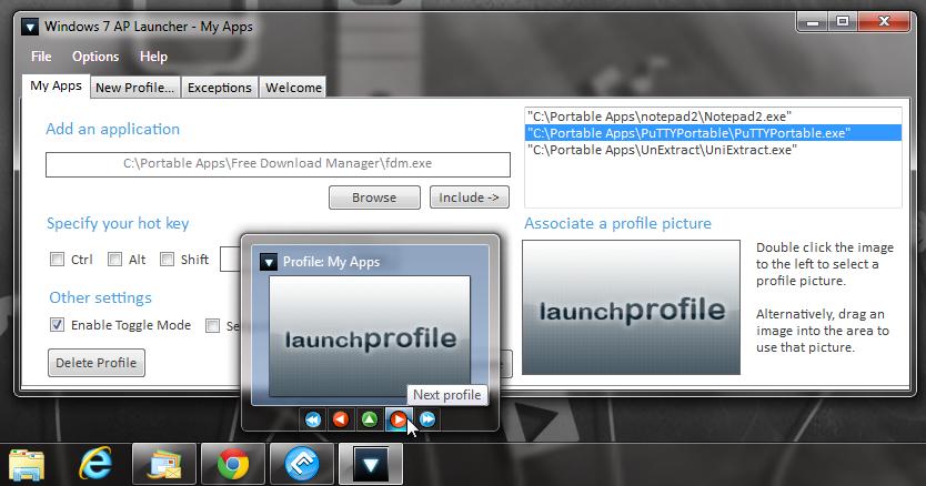 Windows 7 App Launcher - запуск набора приложений одним кликом (1)
