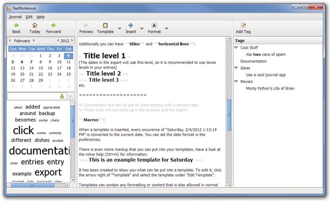 RedNotebook - записная книжка с календарем, форматированием текста и облаком тегов (3)