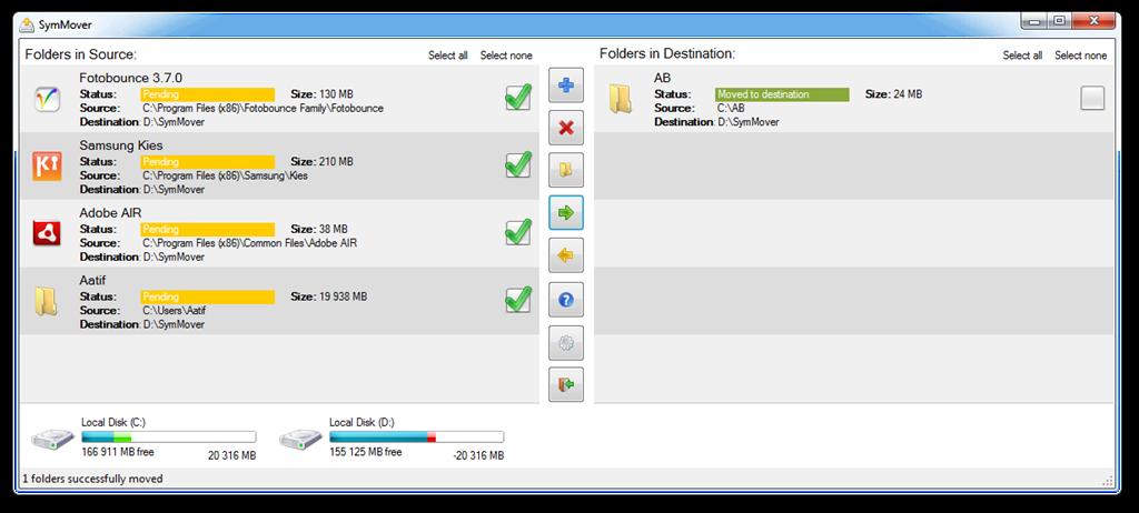 SymMover - утилита для переноса установленной программы без переустановки и настройки