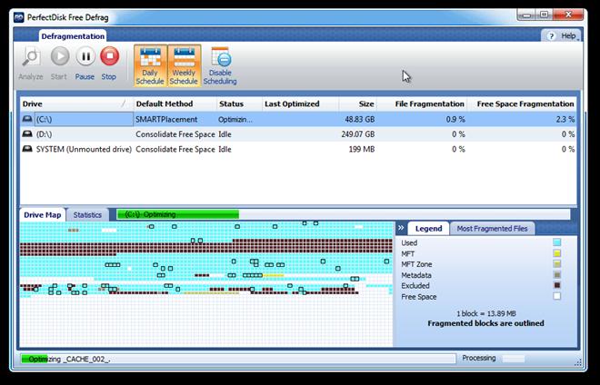 PerfectDisk Free Defrag - удобная утилита для дефрагментации жестких дисков (2)