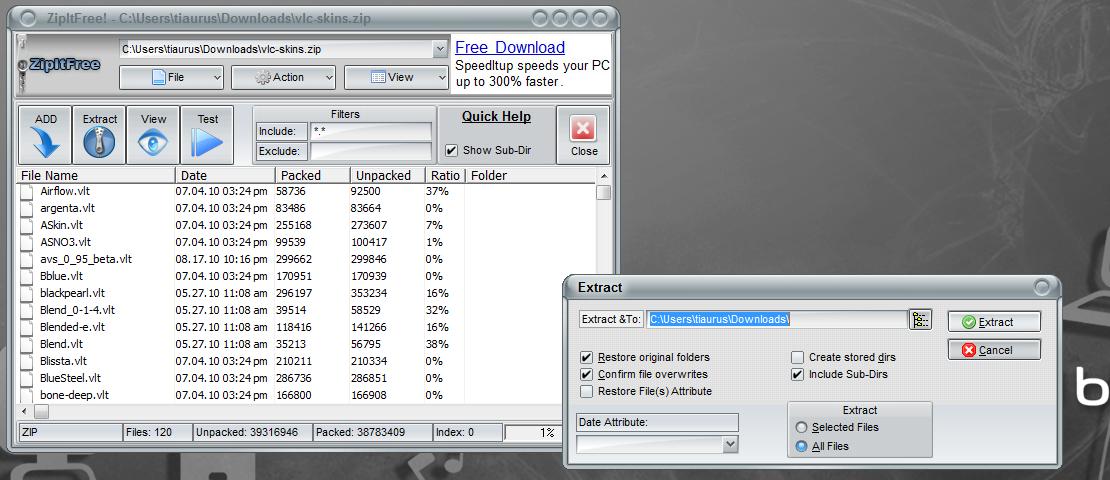 ZipItFree - бесплатный архиватор с поддержкой множества форматов (2)