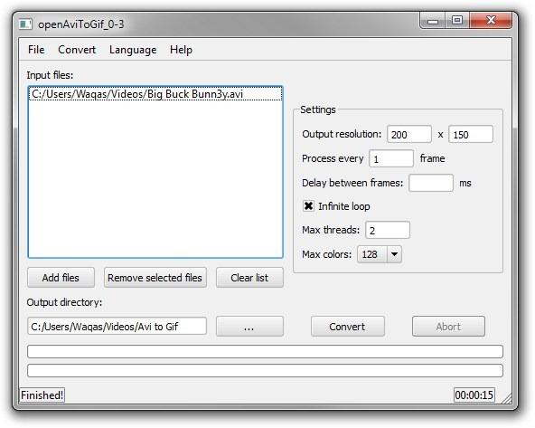 openAviToGif - программа, которая создает GIF из AVI