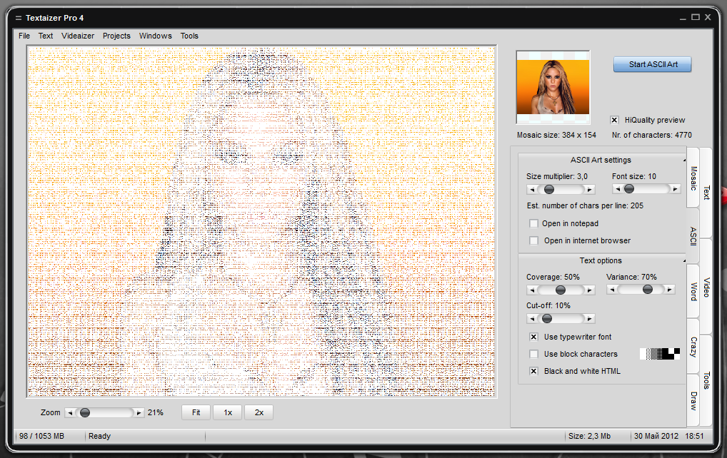 Textaizer Pro - генератор рисунков в ASCII-коде (2)