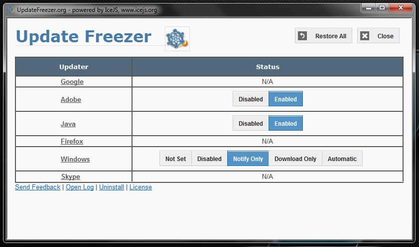 Update Freezer - портабельная утилита для проверки установленных программ