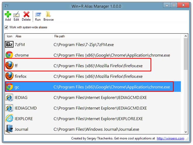 Windows + R Alias Manager - программа для создания команд быстрого запуска (4)