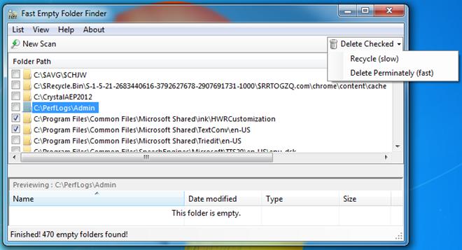 Fast Empty Folder Finder - программа для быстрого поиска и удаления пустых папок (2)