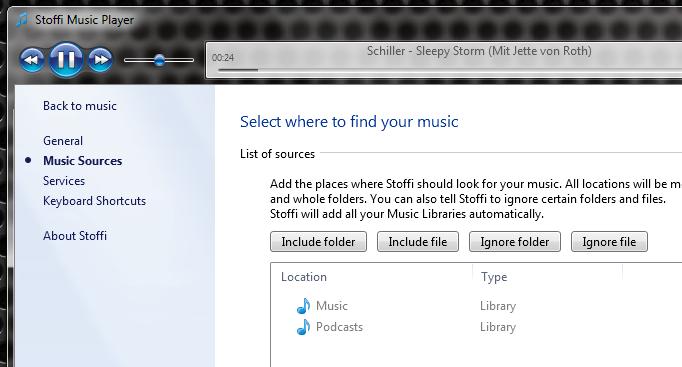 Stoffi Music Player - минималистичный музыкальный плеер в стиле Проводника Windows (2)