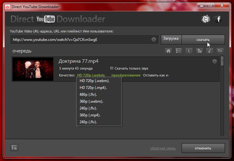 Direct YouTube Downloader - програма для скачивания из YouTube отдельных роликов и всех роликов из плейлистов и каналов (4)