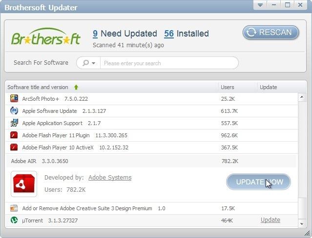 Brothersoft Updater - утилита для проверки обновлений установленных программ (1)