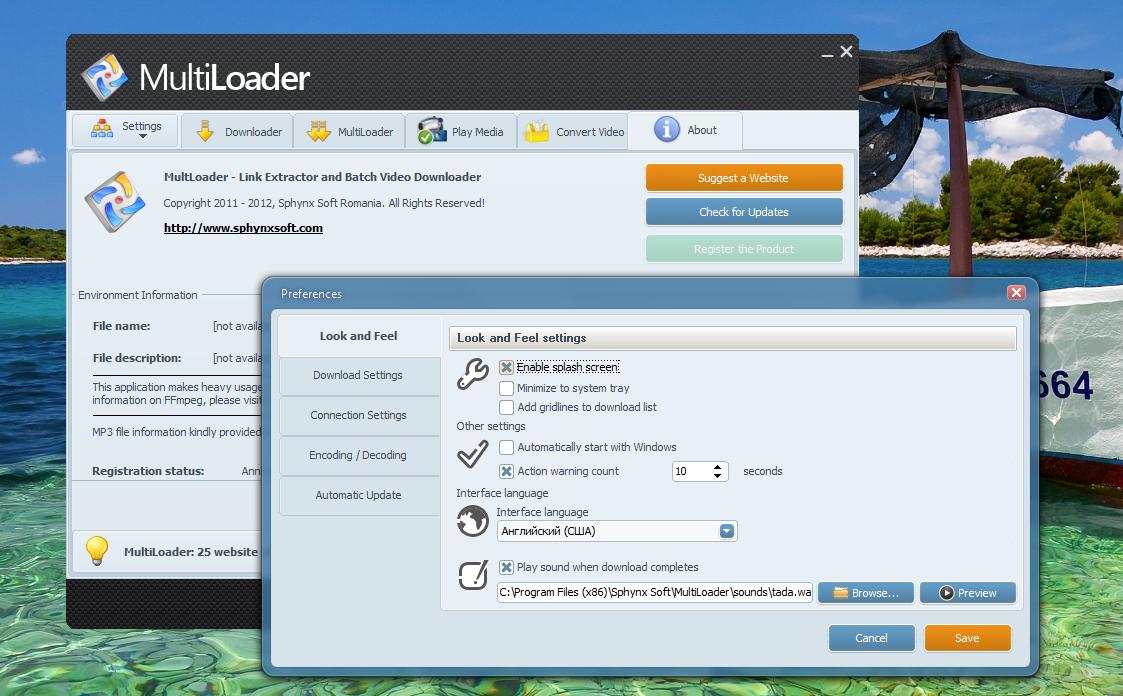 MultiLoader - программа для пакетного скачивая видео из интернета в несколько потоков (5)