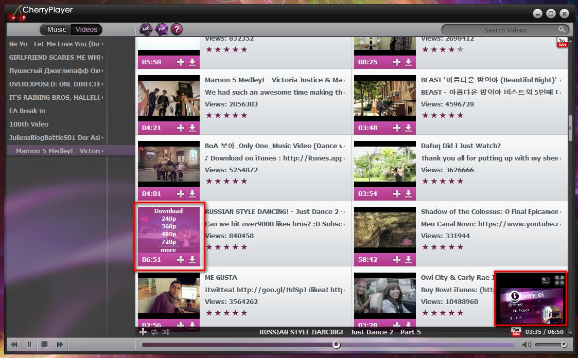 CherryPlayer - плеер для воспроизведения аудио и видео из VK.com, Last.fm и YouTube (2)
