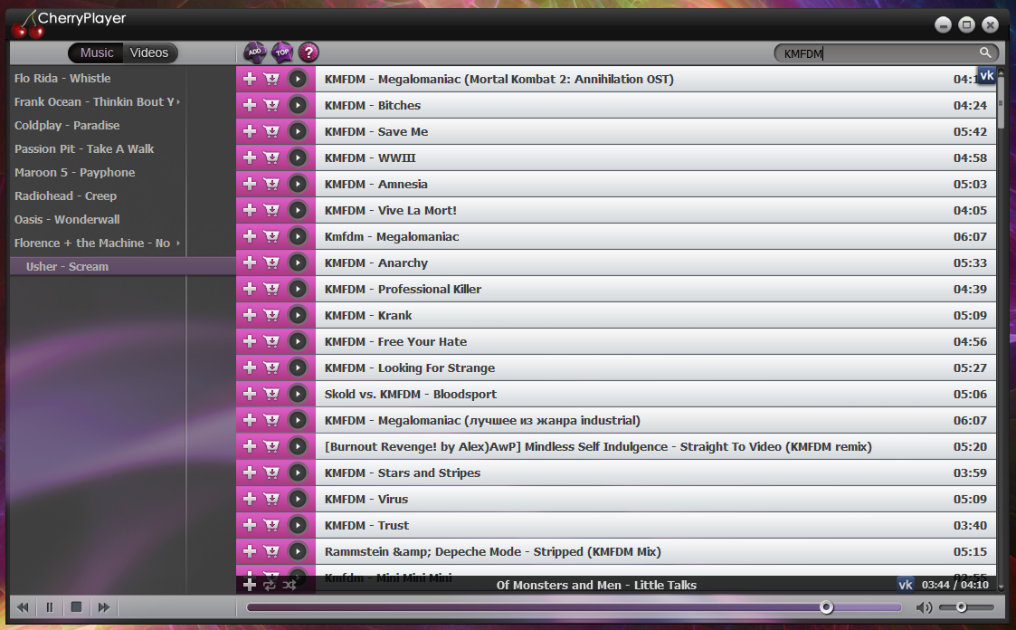 CherryPlayer - плеер для воспроизведения аудио и видео из VK.com, Last.fm и YouTube (1)