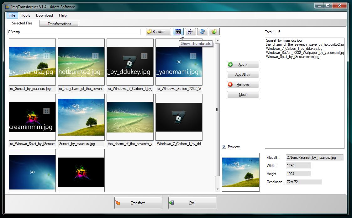 ImgTransformer - программа для массового изменения изображений за один шаг (1)