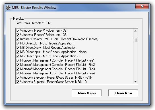 MRU-Blaster - утилита для очистки логов и истории, сохраняемых системой и установленными программами (2)