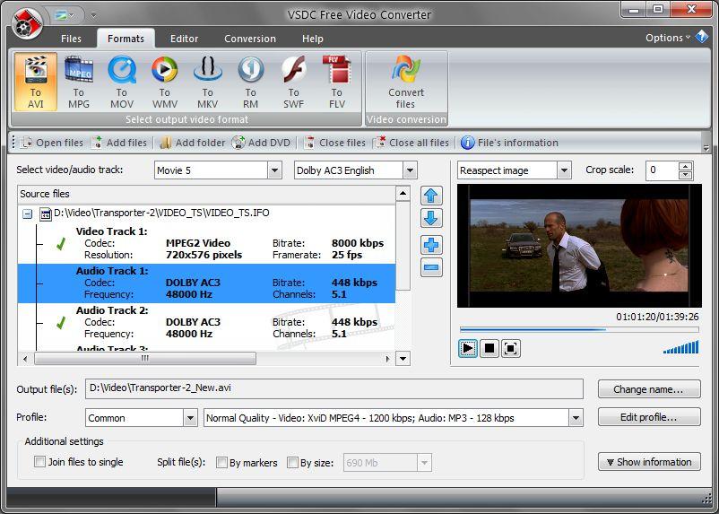 VSDC Free Video Converter - удобная программа для конвертирования видео для последующего воспроизведения в разрешении HD (4)