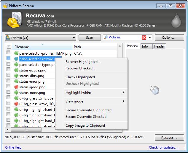 Recuva - легкая, простая программа для восстановления удаленных файлов с жестких дисков и карт памяти (4)