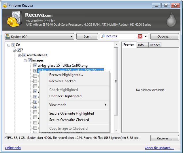 Recuva - легкая, простая программа для восстановления удаленных файлов с жестких дисков и карт памяти (3)