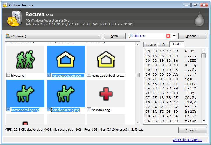 Recuva - легкая, простая программа для восстановления удаленных файлов с жестких дисков и карт памяти (2)