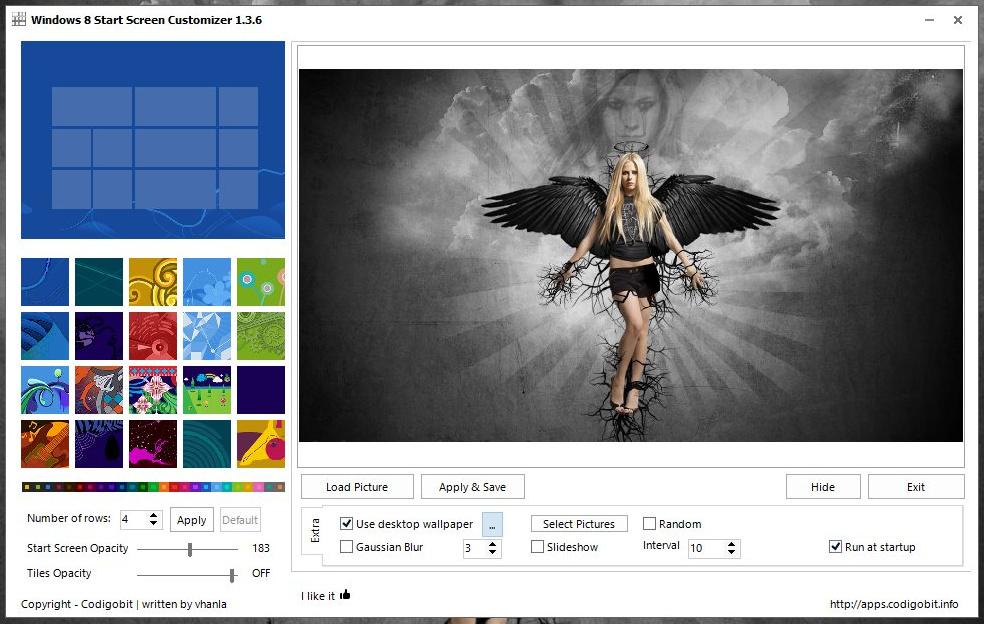 Windows 8 Start Screen Customizer - программа для настройки цвета и фонового изображения стартового экрана