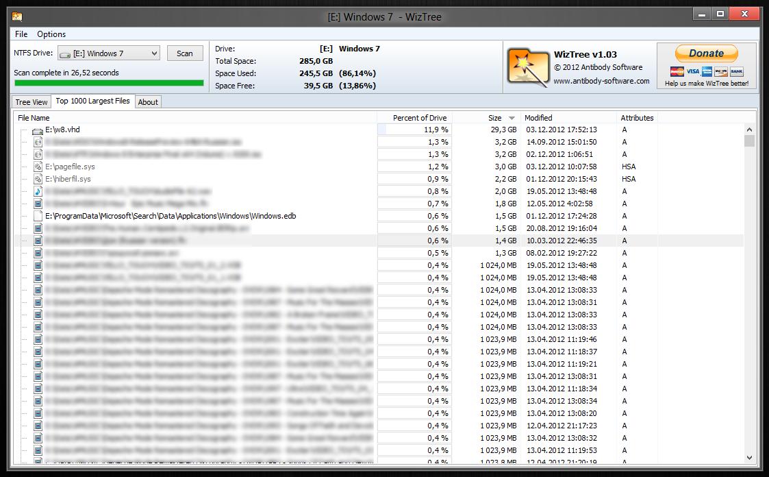 WizTree - очень быстрый сканер жестких дисков, показывающий занятое файлами место
