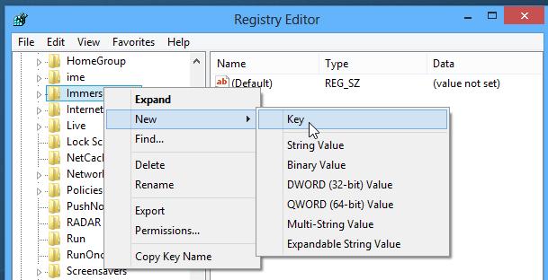 Как удалить область переключения к полноэкранным программам и charm-бар в Windows 8 (4)