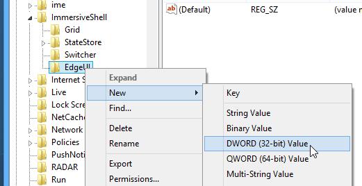 Как удалить область переключения к полноэкранным программам и charm-бар в Windows 8 (3)