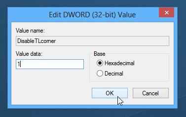 Как удалить область переключения к полноэкранным программам и charm-бар в Windows 8 (2)