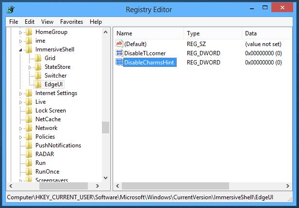 Как удалить область переключения к полноэкранным программам и charm-бар в Windows 8 (1)