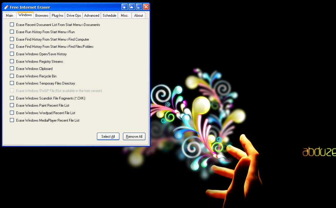 Free Internet Eraser - программа для удаления всех следов деятельности пользователей на компьютере (4)