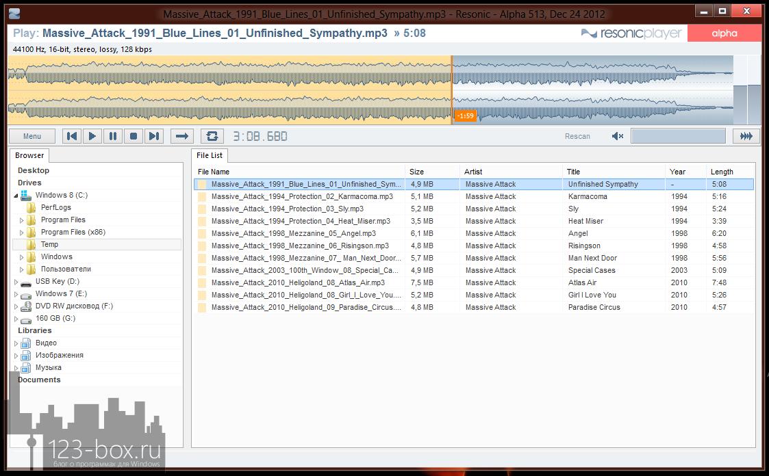 Resonic - очень легкий, удобный, портабельный аудио плеер с поддержкой множества форматов и визуализацией воспроизведения (4)