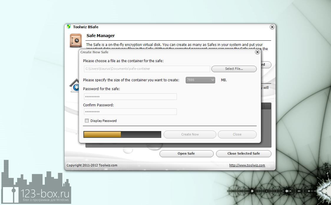 ToolWiz BSafe - программа для создания зашифрованного виртуального диска (5)