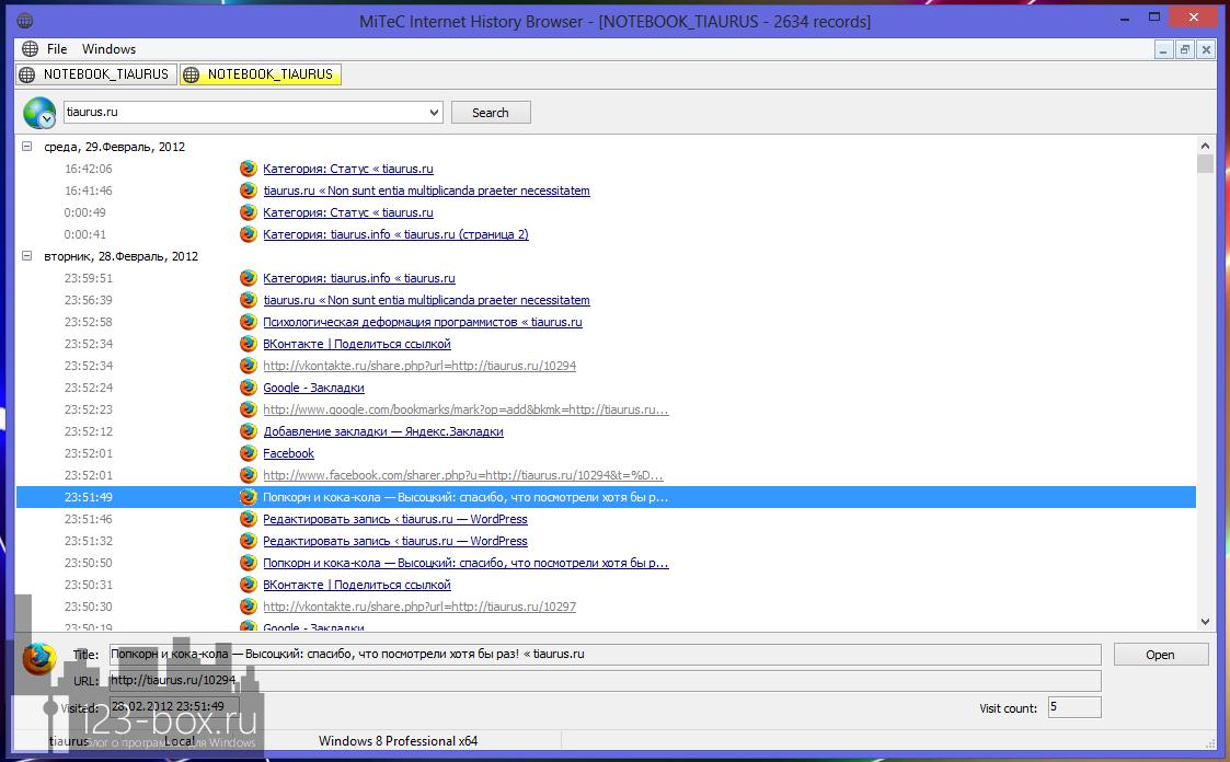 Internet History Browser - портабельная программа для показа истории посещений всех браузеров (1)