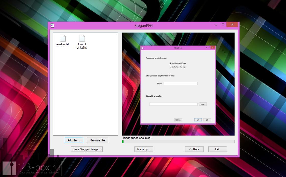 SteganPEG - программа шифрования информации внутри изображения (2)