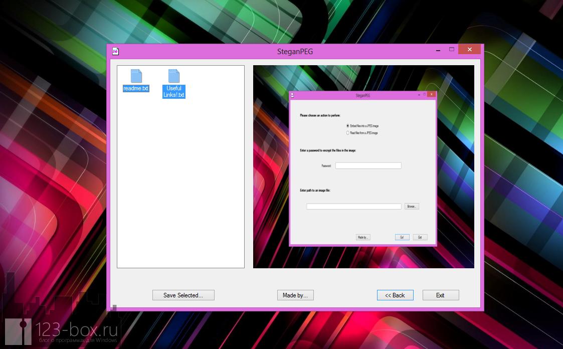 SteganPEG - программа шифрования информации внутри изображения (1)