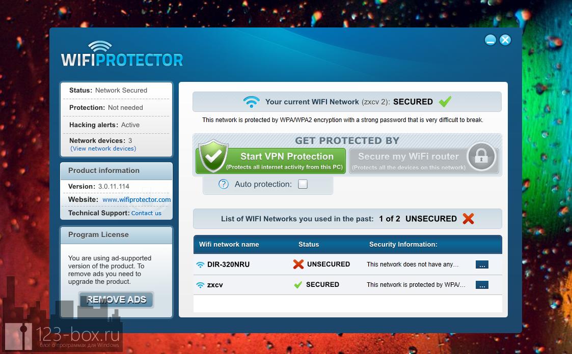 Wi-Fi Protector - программа шифрования Wi-Fi соединения и создания безопасного VPN-соединения для выхода в интернет