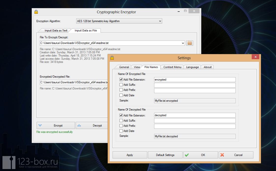 VSEncryptor - удобная, простая, портабельная программа для шифрования текста и файлов (3)