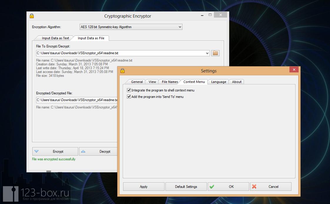 VSEncryptor - удобная, простая, портабельная программа для шифрования текста и файлов (2)