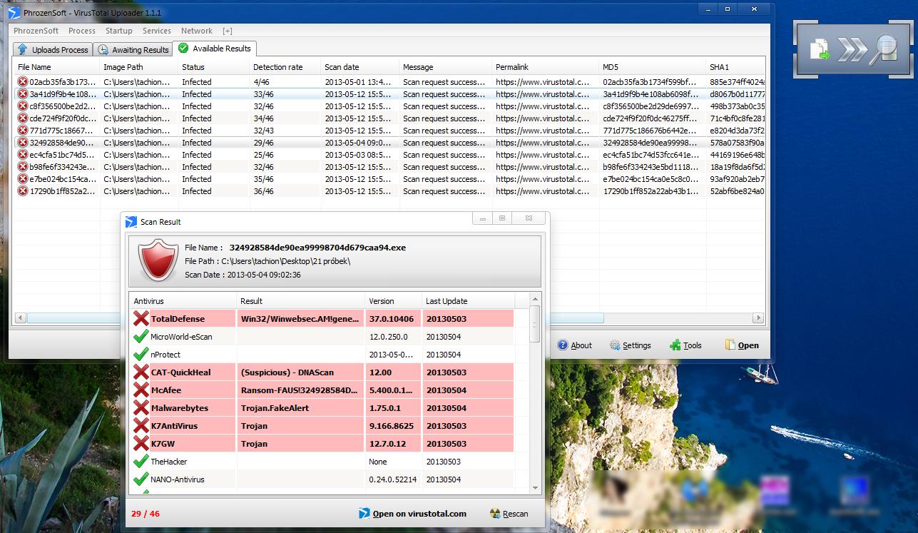 PhrozenSoft VirusTotal Uploader - программа для массовой проверки файлов онлайн, используя разные антивирусные базы