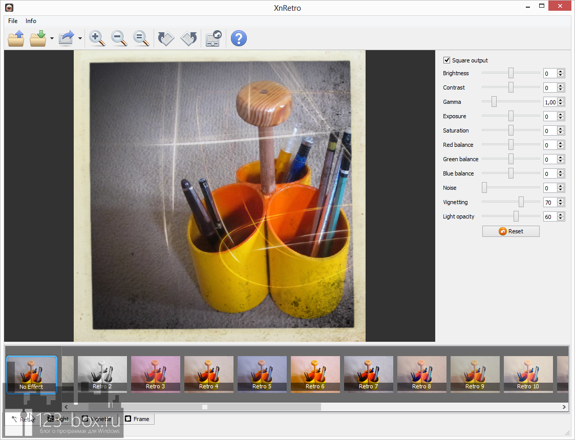 XnRetro - портабельная программа для добавления к фотографиям эффектов и рамок с возможностью отправки в социальные сервисы (5)