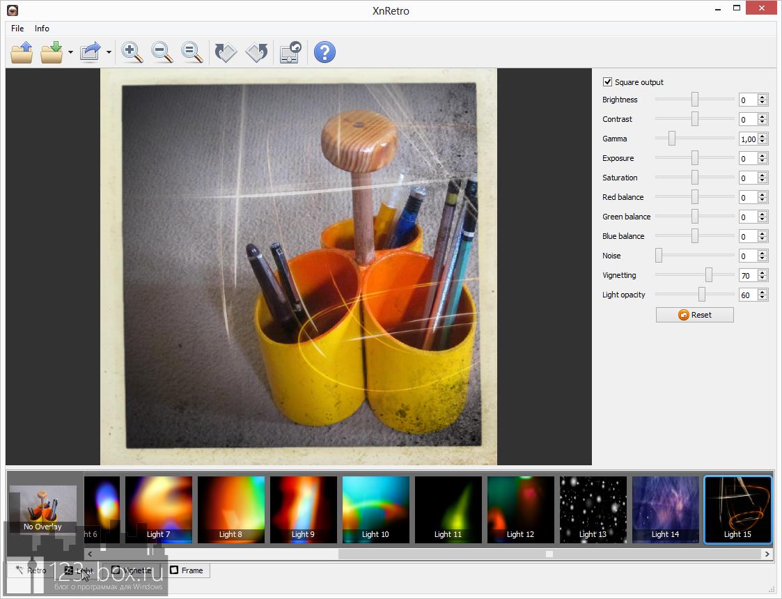 XnRetro - портабельная программа для добавления к фотографиям эффектов и рамок с возможностью отправки в социальные сервисы (4)
