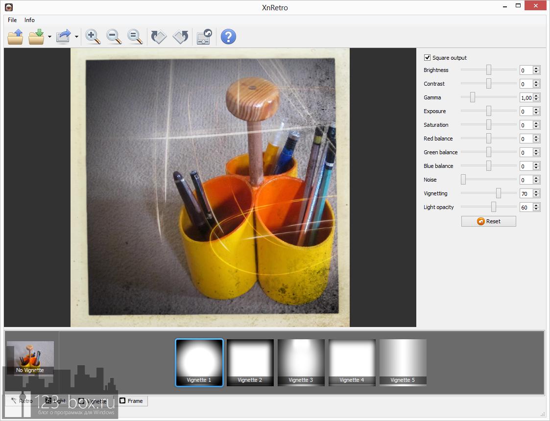 XnRetro - портабельная программа для добавления к фотографиям эффектов и рамок с возможностью отправки в социальные сервисы (3)