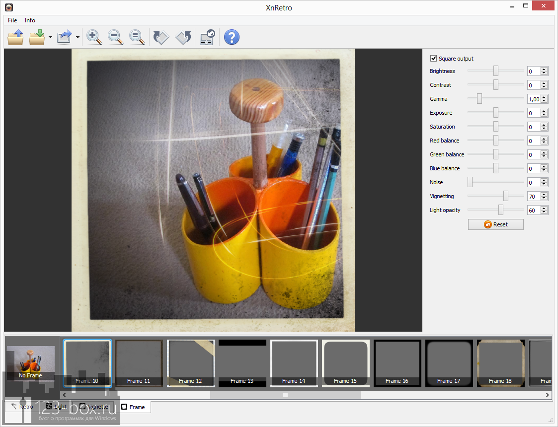 XnRetro - портабельная программа для добавления к фотографиям эффектов и рамок с возможностью отправки в социальные сервисы (2)